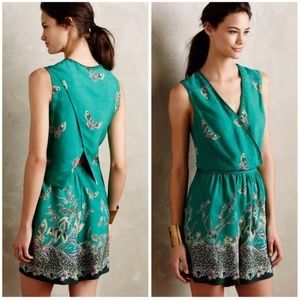 {Anthropologie} Elevenses Green Papillion Romper